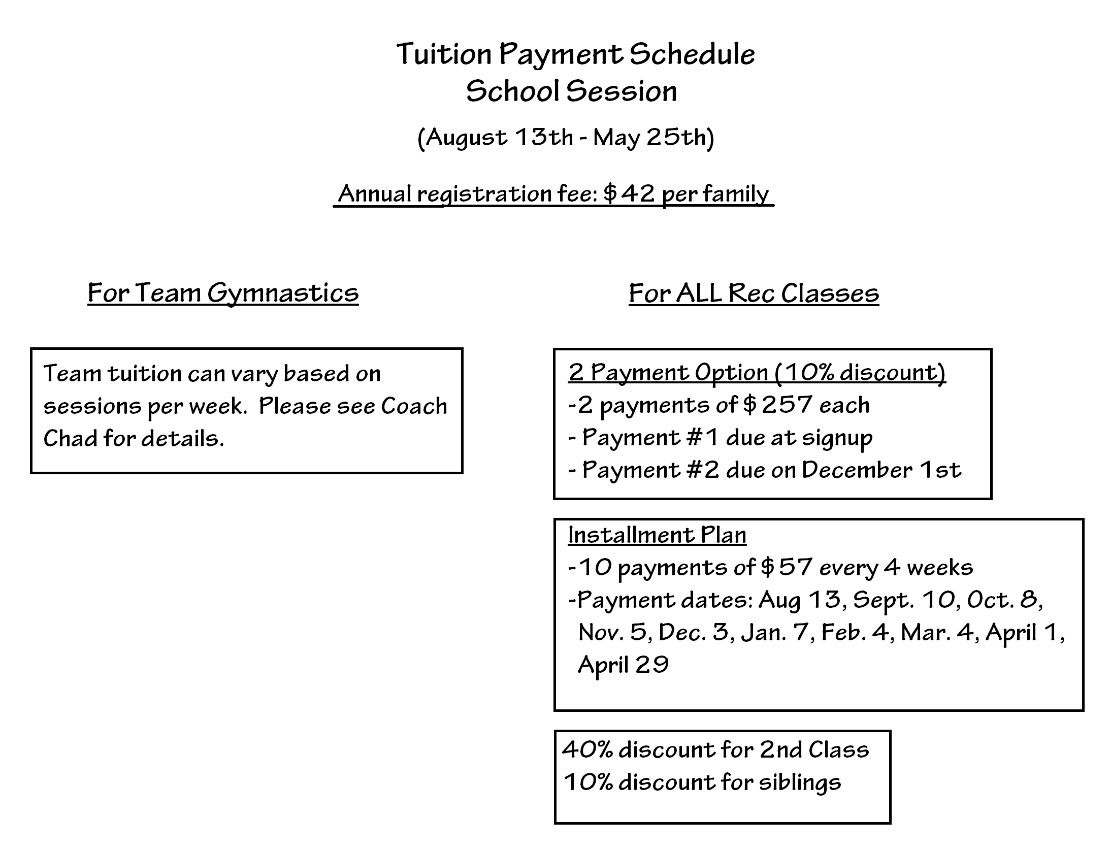 Tuition Payment - school session