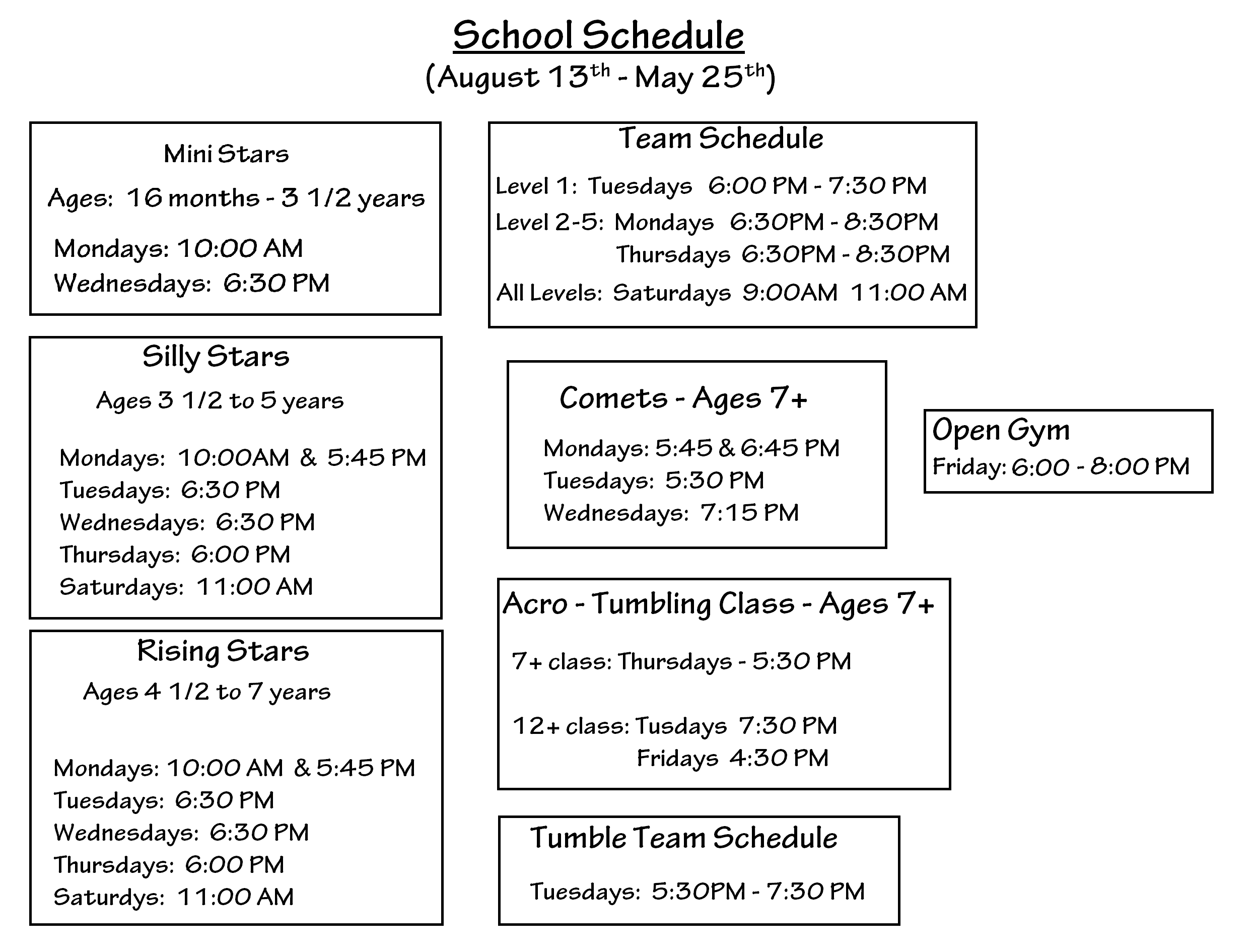2020 School Year Schedule
